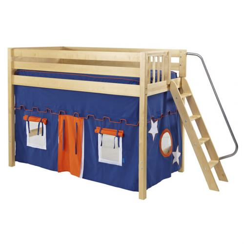 Pack Mid Size Playhouse Loft Bed in Blue and Orange on Natural by Maxtrix (400.1)