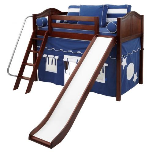 Sweet Blue and White Playhouse Mid Loft with slide by Maxtrix (420.1) Thumbnail