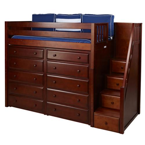Star Storage Bed in Chestnut with Stairs by Maxtrix (670)