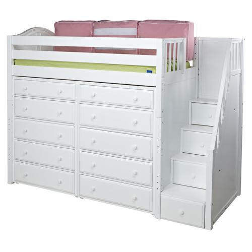 Star Storage Bed in White with Stairs by Maxtrix (670)