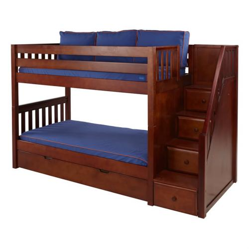 Stacker Low Bunk Bed by Maxtrix Kids: Chestnut, Slats, Twin, Stairs Thumbnail