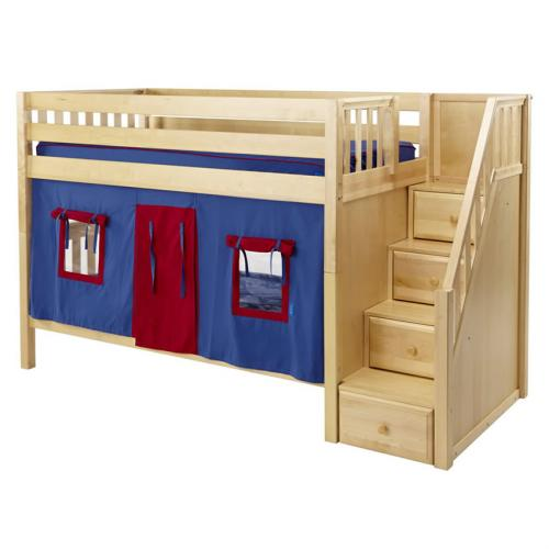 Blue And Red Stacker Playhouse Bunk Bed In Natural By