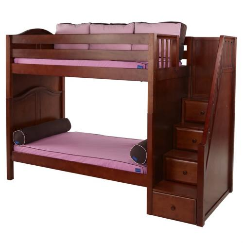 Wopper High Bunk Bed by Maxtrix Kids: Chestnut, Curved, Twin Thumbnail