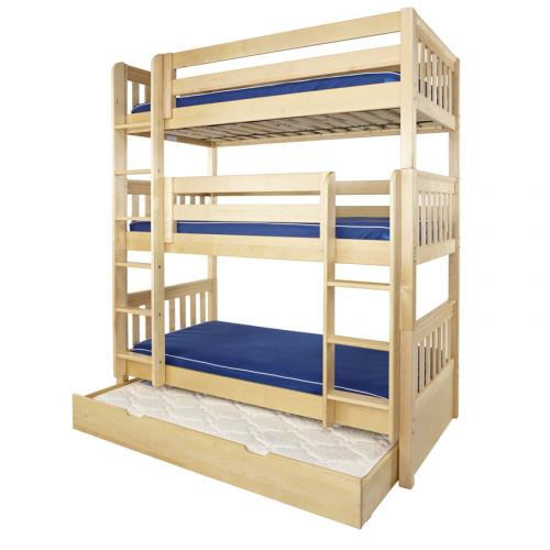 Maxtrix HOLY Triple Bunk Bed in Natural with Slat Bed Ends (850) Thumbnail