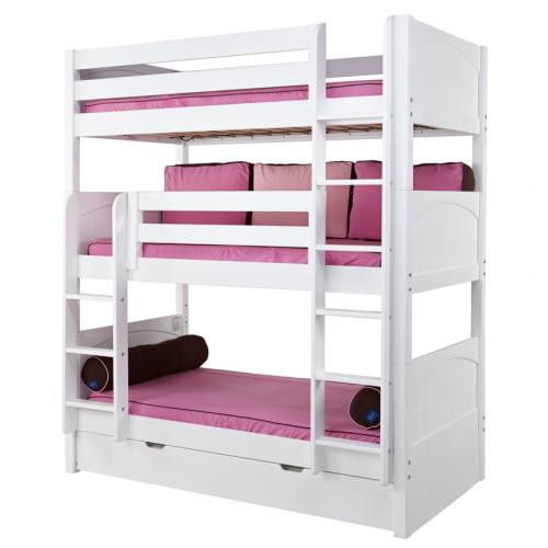 Maxtrix HOLY Triple Bunk Bed in White with Panel Bed Ends (850) Thumbnail