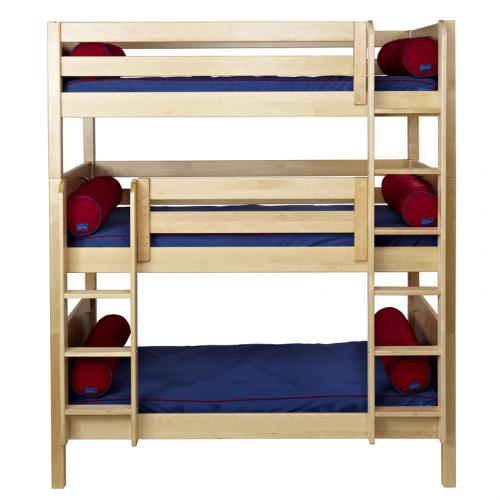 Maxtrix HOLY Triple Bunk Bed in Natural with Panel Bed Ends (850) Thumbnail