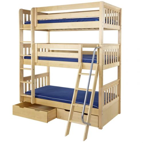 Maxtrix MOLY Triple Bunk Bed in Natural Slat Bed Ends (850) Thumbnail
