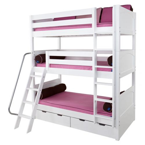 Maxtrix MOLY Triple Bunk Bed in White with Panel Bed Ends (850) Thumbnail