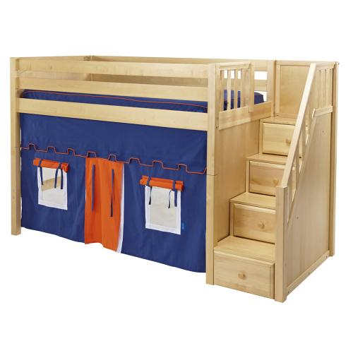Maxtrix Galant Playhouse Mid Loft in Natural w/ Stairs (Panel Bed Ends) (405.1) Thumbnail