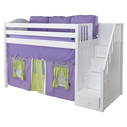 Maxtrix Galant Playhouse Mid Loft in White w/ Stairs (Curve Bed Ends) (405.1) Thumbnail