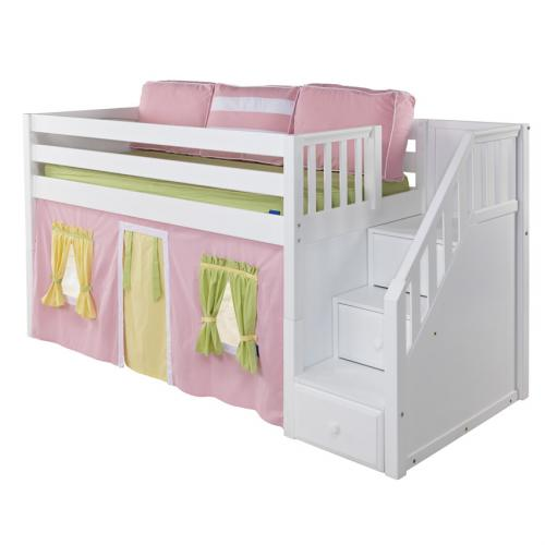 Maxtrix Skippy Playhouse Loft Bed in White w/ Stairs (Panel Bed Ends) (305.1) Thumbnail