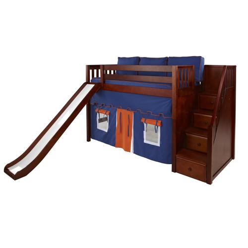 Maxtrix Hero Mid Loft Playhouse w/ Stairs & Slide in Chestnut (Slat Bed Ends) (425.1)
