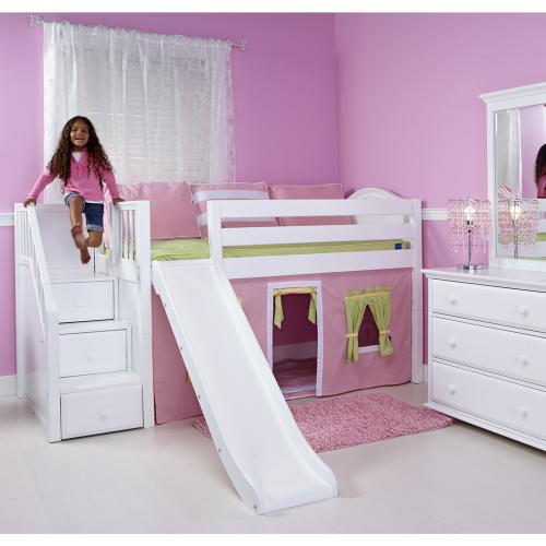 Maxtrix Delicious Playhouse Low Loft in White w/ Stairs & Slide (Curve Bed Ends) (325.1) Thumbnail