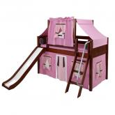 Pink and Brown Playhouse Loft Bed in Chestnut by Maxtrix (320.2)
