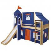 Blue and Orange Playhouse Castle Bed in Natural by Maxtrix (370)