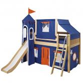 Blue and Orange Playhouse Castle Bed with Angled Ladder by Maxtrix (370)