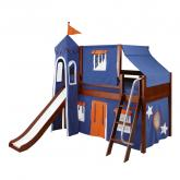Blue and Orange Playhouse Castle Loft Bed in Chestnut by Maxtrix (370)