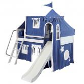 Blue and White Playhouse Castle Loft Bed by Maxtrix (370)