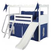 White Camelot Castle Low Loft Bed with Slide by Maxtrix Kids (395)