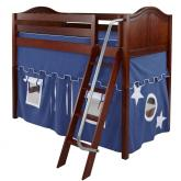 Chap Mid Size Playhouse Loft Bed in Blue and White on Chestnut by Maxtrix (400.1)