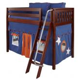 Chap Mid Size Playhouse Loft Bed in Blue and Orange on Chestnut by Maxtrix (400.1)