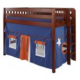 Mack Mid Size Playhouse Loft Bed in Blue and Orange on Chestnut by Maxtrix (400.1)