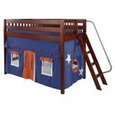 Pack Mid Size Playhouse Loft Bed in Blue and Orange on Chestnut by Maxtrix (400.1)