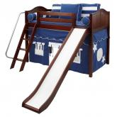 Sweet Blue and White Playhouse Mid Loft with slide by Maxtrix (420.1)
