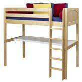 Jib Jab High Loft Bed with desk in Natural by Maxtrix (550)
