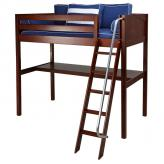 Knockout High Loft Bed with desk in Chestnut by Maxtrix (550)