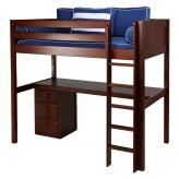 Jib Jab High Loft Bed with desk and 1 drawer in Chestnut by Maxtrix (560)