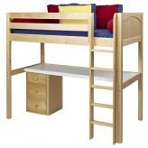 Jib Jab High Loft Bed with desk and 1 drawer in Natural by Maxtrix (560)
