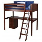 Knockout High Loft Bed with desk and 1 drawer in Chestnut by Maxtrix (560)