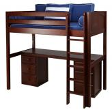Jib Jab High Loft Bed with desk and 2 drawers in Chestnut by Maxtrix (570)