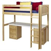 Jib Jab High Loft Bed with desk and 2 drawers in Natural by Maxtrix (570)