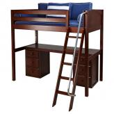Knockout High Loft Bed with desk and 2 drawers in Chestnut by Maxtrix (570)