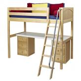 Knockout High Loft Bed with desk and 2 drawers in Natural by Maxtrix (570)
