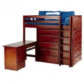 Master 1 L Storage Bed in Chestnut with Panel Bed Ends by Maxtrix (662)