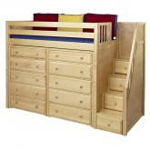 Star Storage Bed in Natural with Stairs by Maxtrix (670)
