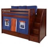 Blue and Orange Stacker Playhouse Bunk Bed in Chestnut by Maxtrix (705.1)