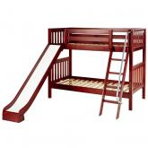 Laugh Low Bunk Bed by Maxtrix Kids: Chestnut, Slats, Twin, Slide