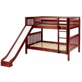 Smile Playhouse Bunk Bed with Slide and Straight Ladder in Chestnut by Maxtrix (720.0)