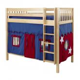 Blue and Red Tall Playhouse Bunk in Natural by Maxtrix (780.1)