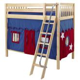 Blue and Red Venti Playhouse Bunk in Natural by Maxtrix (780.1)