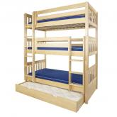Maxtrix HOLY Triple Bunk Bed in Natural with Slat Bed Ends (850)