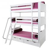 Maxtrix MOLY Triple Bunk Bed in White with Panel Bed Ends (850)