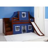 Maxtrix Delicious Low Loft Playhouse w/ Slide (Blue / White on Chestnut) (325.2)