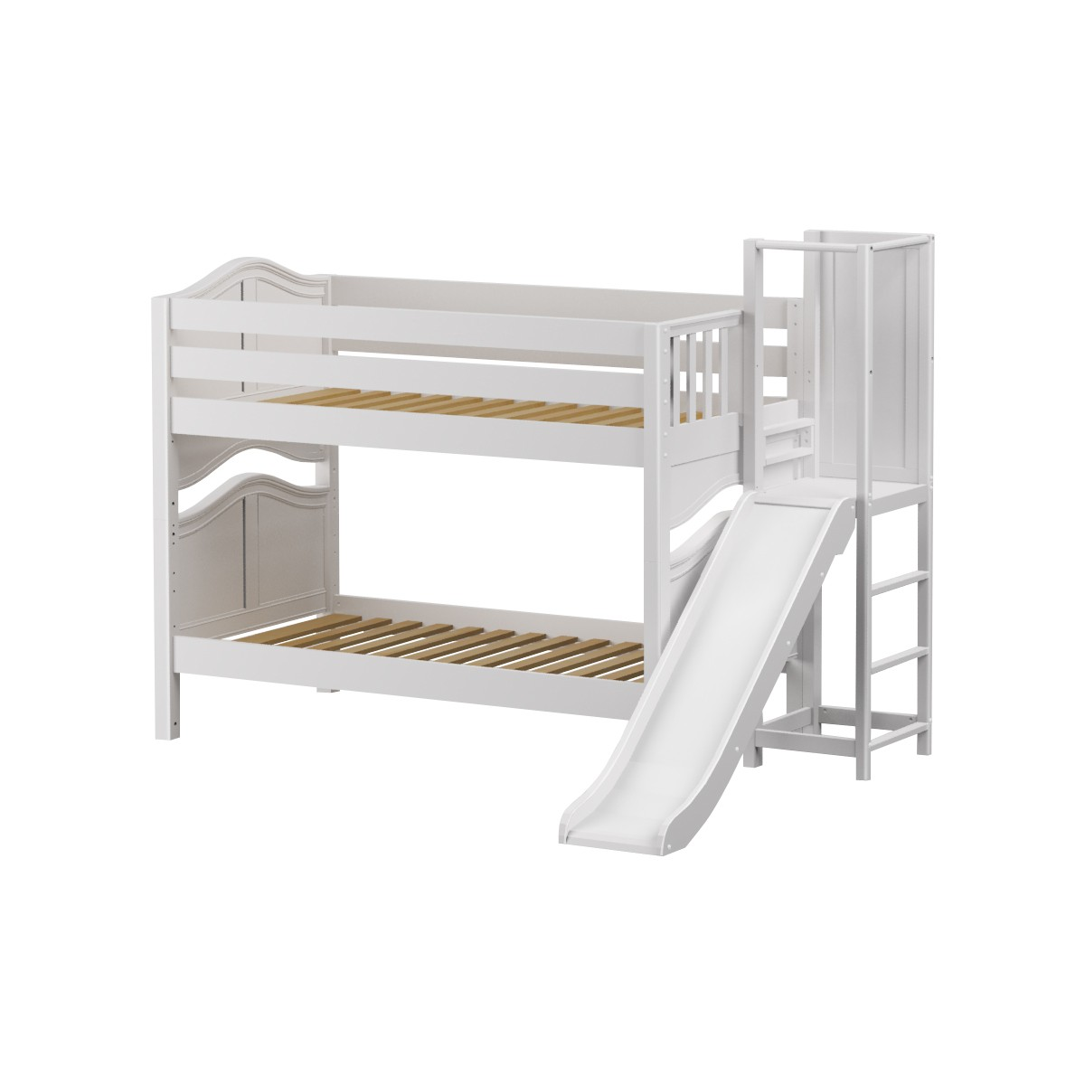 Picture of: Abra Low Bunk Bed By Maxtrix Kids White Curved Twin Slide
