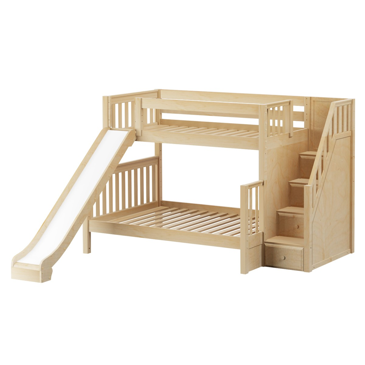 Foxtrot Med Tof Bunk Bed By Maxtrix Kids Natural Slats Stairs Slide