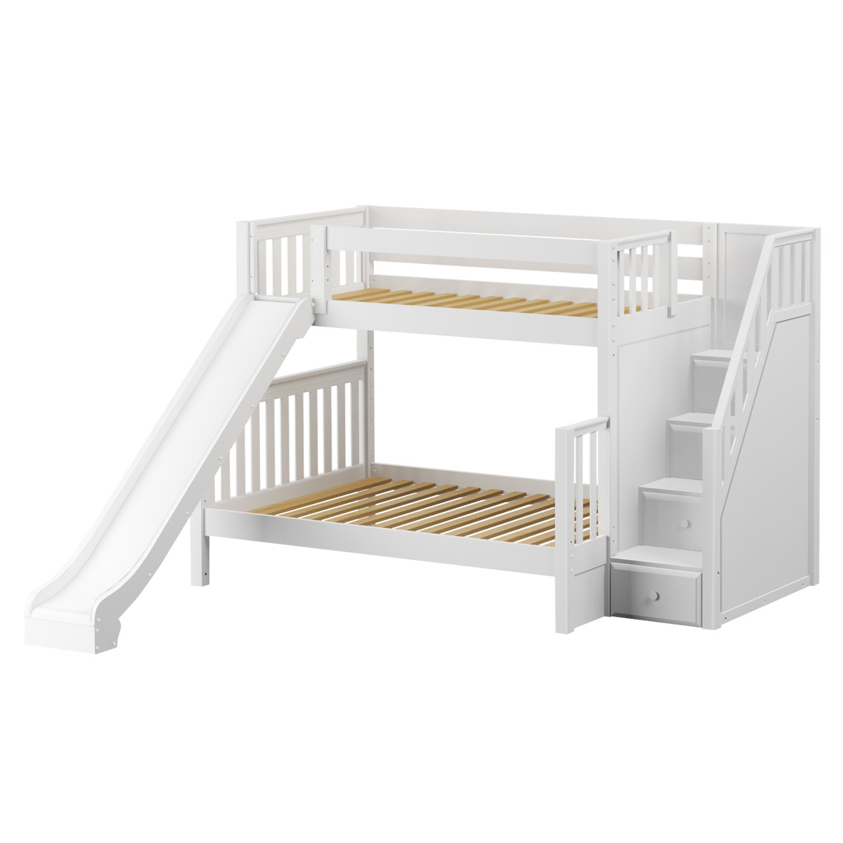 Picture of: Foxtrot Med Tof Bunk Bed By Maxtrix Kids White Slats Stairs Slide